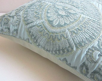 Damask Pillow, Embroidered Pillow, Sea Green Pillow, Aqua Pillow, Blue Green Pillow, Floral Pillow, Robert Allen Pillow, Decorative Pillow