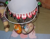 Vintage Pail, Easter Basket, home decorating, candy dish 6x7 tall, polka dot decor and bells all around the skirt top of the basket