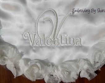 Personalized Ivory Bib or white Bib  for Dress up Parties- Baptism Bib- Bibs for weddings- Custom Bibs - Dressy Bibs- Satin Bibs- Baby Bibs