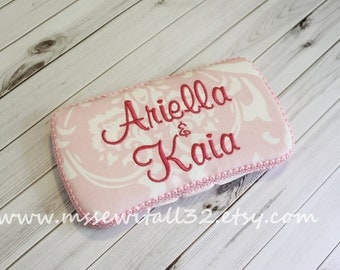 Custom Pink Damask Diaper Wipes Case