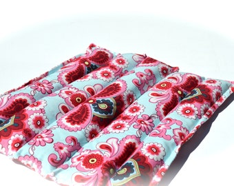 Natural herbal heating pad, Amy Butler French Wallpaper in blue and red, Chamomile lavender aromatherapy