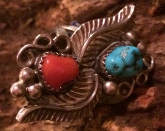 Vintage Native American Sterling Silver Coral & Turquoise Ring
