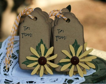 Handmade Gift Tags Set of 6 - Flowers - To From  - Everyday Tag - Birthday Tags