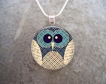 Owl Jewelry - Glass Pendant Necklace - Owl 8