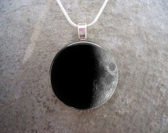 Waxing Crescent Moon Jewelry - Glass Pendant Necklace - Astronomy Jewellery