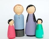 Peg Doll Kit - Family of 4 Wooden Dolls - Kids Craft Kit, DIY Craft Kit, Paint your own Family Dolls