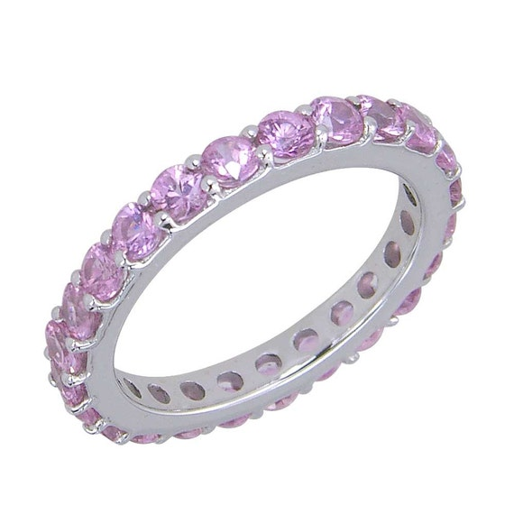 pink sapphire eternity ring 18k white gold 5ct tw sku