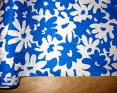 Geometric-Floral Print Silk Jacquard Fabric. Blue & White Tropical Flower Print Silk crepe-de-chine.