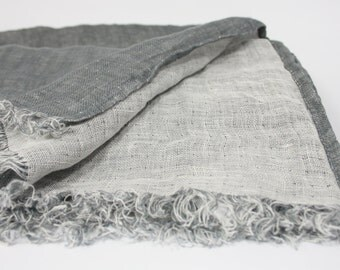 Linen Scarf  SHIPPING WORLDWIDE 100%  Two sided Scarf Woman Scarf Mens Scarf Unisex Scarf Grey & White Washed SR44 Spring