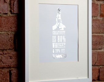 Silver Whiskey Bottle Quote