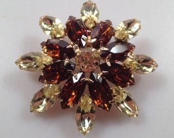 1960s Vintage JULIANA Brooch Citrine Rhinestones Holiday Brooch Topaz Rhinestones PIN  Starburst Pin DeLizza & Elster