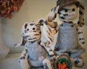 Artist bear bunny pair shabby wool and silk crocheted by Wendelika