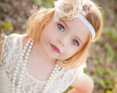 Ivory Cream and Tan and Burlap Handmade Flower Headband, Feathers, Handrolled silk rosette, pearls, Crystals veiling