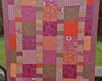 Hand-Made Ginger Spice Patchwork Quilt