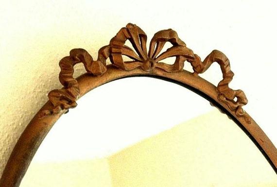 Antique Oval Brass Wall Mirror 1930's Brass Ribbon Motif
