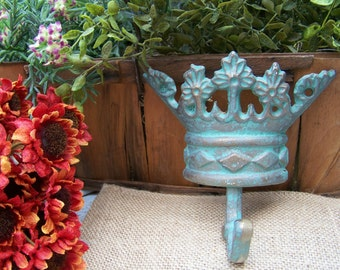 Cast Iron Crown Hook, Crowns, Verdigris, Cast Iron, Home Decor Hooks, Hooks, Shabby Style, Cottage Chic, Handpainted Hooks, Crown Decor