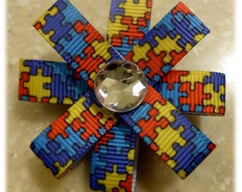 Autism awareness flower pin with rhinestone