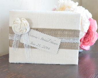 Cream Burlap Guest Book by Burlap and Linen Co