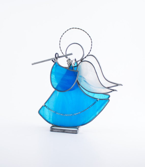 Stained Glass Angel, Musical Instrument, Guardian Angel, Christian Ornament, Religious Art, Christmas Decor, Unique Gifts for Women