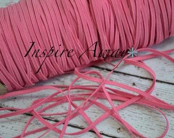 Bubblegum Pink Skinny elastic, 1/8 inch elastic, 5 yards or 10 yards - Elastic by the yard - Thin Elastic - DIY Headbands, foe elastic,