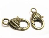 4pc antique bronze 26x13mm fancy metal heart shape lobster clasps-8330
