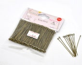 """1 Packet(300PCs) Well Sorted Bronze Plated Round Eye Pins 5cm(2"""") -7579A"""