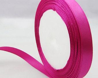 1 of 12mm hot pink  satin ribbon roll 25 yards-7858