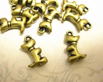 24pc antique bronze finish acrylic doggy pendants-208X2