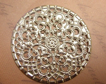 8pc 40mm platina look filigree wrap-370C