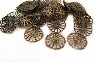 50 pieces of 14mm antique bronze filigree bead caps-1779