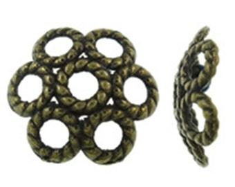 24pc antique bronze finish 11mm metal bead caps-9019