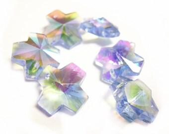 sale-6pc Imitation swarovski crystal cross shape glass beads-1460D