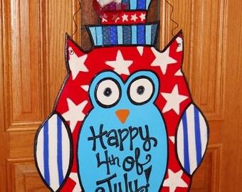 Patriotic Wood Owl Door Hanger