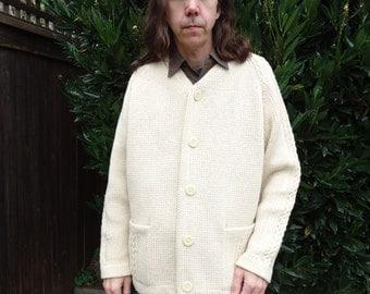 Vintage 1960s Eskimo Cowichan Style Cardigan Sweater sz XL