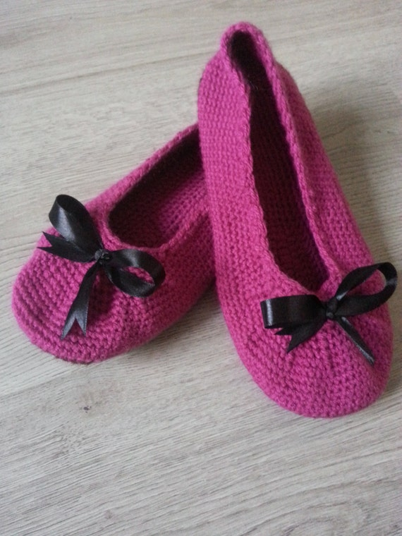 FREE SHIPPING Crochet Ballets With a Bow Double Sole