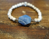 Blue Druzy and White Turquoise Bracelet