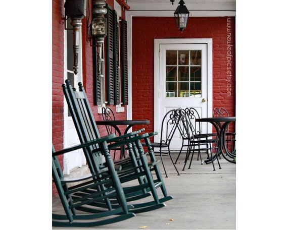 Vermont Porch Photograph, rocking chairs, Americana, red and green folk art