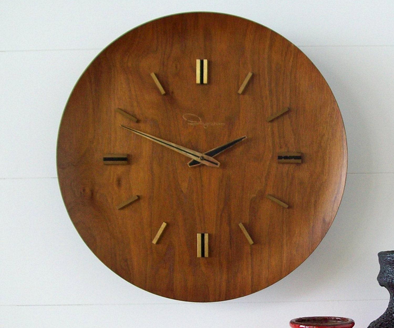 Vintage Mid Century Ingraham Wall Clock Teak Mid Century