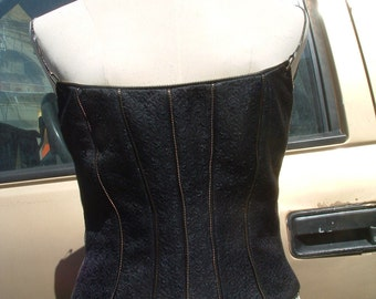 free shipping ANGELO MOZZILLO black corset dead stock made in italy circa 1993 size 42 free shipping
