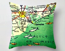 Galveston Texas Map Pillow   Freeport  Beach House Decor   Mid Century Modern Decorative Throw Pillow Cover   Tx Retro Map Print