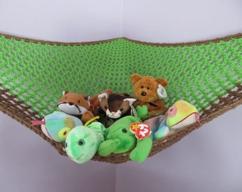 Crochet toy net hammock in spring green with brown trim, stuffed animal storage for boys room MADE TO ORDER