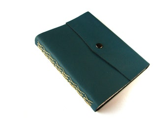 Blue Large Leather Sketchbook with Snap Closure