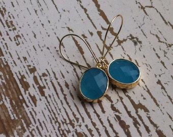 Ocean Blue glass dangle earrings