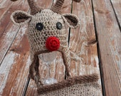 Boy Red Nosed Reindeer hat and diaper cover- Made to Order