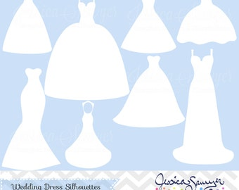 INSTANT DOWNLOAD, white wedding dress clipart, silhouette clipart,  for greeting cards, announcements, scrapbooking