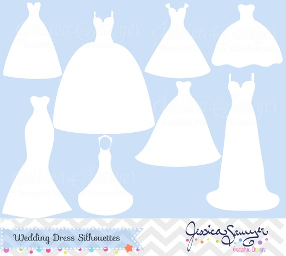 Wedding Gown Clip Art: INSTANT DOWNLOAD White Wedding Dress Clipart Silhouette