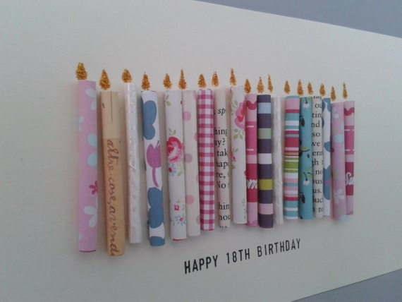 Happy 18th Birthday Candle Card with 18 paper candles, Female, Can be ...