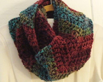 Crochet Infinity Scarf Chunky Chevron Multicolor Wine Burgundy Turquoise Green Striped Eternity Cowl