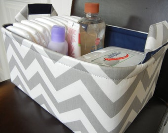 "LG Diaper Caddy(No Divider)-Toy Basket 12"" x 8"" x 6""(choose LINING COLOR)Fabric Storage Organizer-Baby Gift-Chevron-""Grey/White Zigzag"""