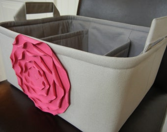 "LG Diaper Caddy(choose Basket  Rose  Lining colors)12""x 10""x6"" Two Dividers-Fabric Storage Organizer-Baby Gift-""Hot Pink Rose on Grey"""